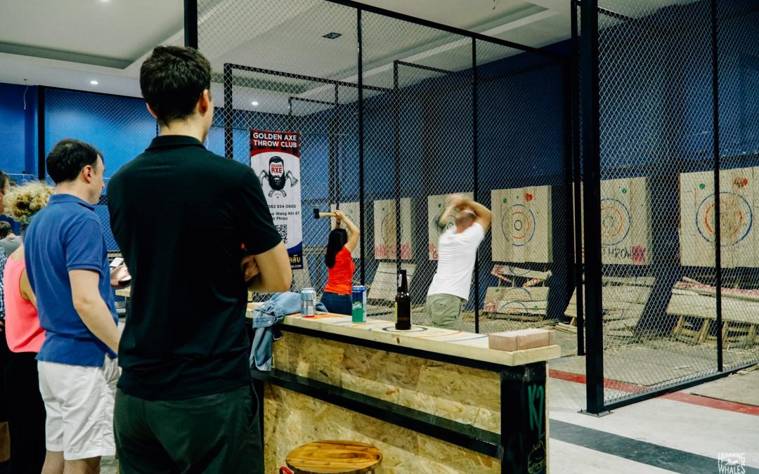 Corporate Team Building Activities in Bangok – #1 Axe Throwing Event